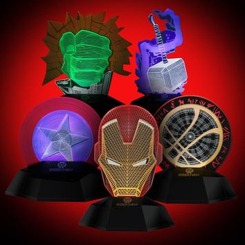 Marvel avengers LED Night light 3D Acrylic Desk lamp Iron Man Mask Table lamps bedroom bedside light children gift USB Charging