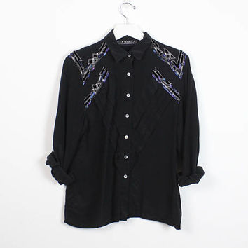 Vintage 1980s Blouse Black Blue Silver Embroidery Applique Art Deco Beaded Short 80s Blouse New Wave Glam Rock Button Down S Small M Medium