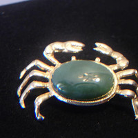 Green Jade Crab Pin Pendant Brooch Nephrite Vintage Jewelry Cancer Zodiac Sign Retro Beachy Fashion Accessories For Her