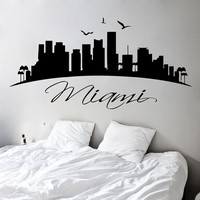 Miami Wall Decals USA Landscape City Skyline Vinyl Decal Sticker Art Mural Beauty Salon Bedroom Interior Design Living Room Decor KT136