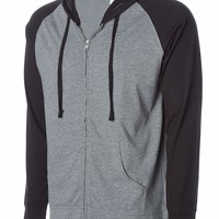Global Men's Lightweight T-Shirt Jersey Full Zip up Hoodie Hooded Sweatshirt