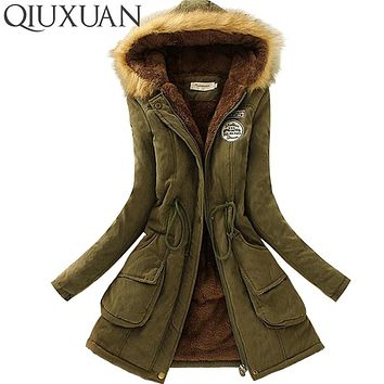 Womens Parka Fashion Winter Warm Fur Collar Coats Long Parkas Hoodie Jacket