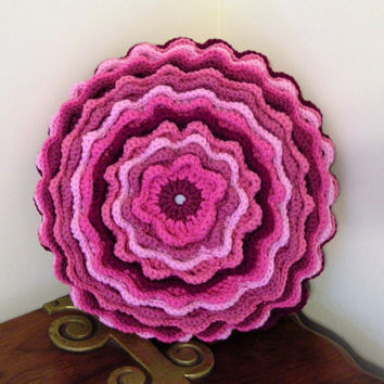 Crochet Accent Throw Pillow  Pinks  Blooming  Flower Motif Magazine Feature