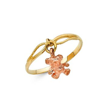 Teddy Bear Ring - 14K Solid Two Tone Gold