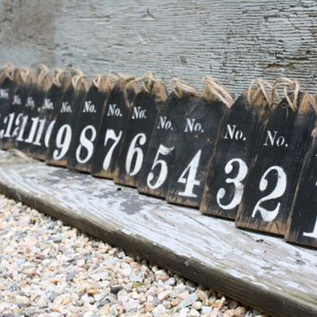 FREE SHIP Set of 15 Distressed Rustic Large Wood Wedding Table Numbers Basket Tags Sign