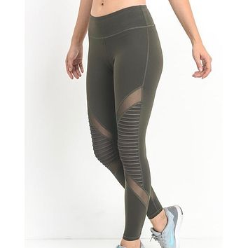 active hearts - moto block mesh full length sports leggings