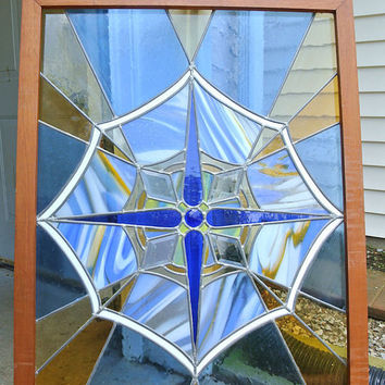 Victorian Stained Glass Window Pane Antique Stain Glass Art Nouveau Art Deco Period Original Wood Frame Home Decor Cottage Chic Garden