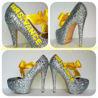 Wedding Glitter High Heels w/ small letters
