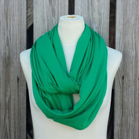 Grass Green Infinity Scarf - Loop Scarf - Kelly Green Eternity Scarf - High End Jersey Knit Loop Scarf