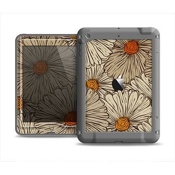 The Tan & Orange Tipped Flowers Pattern Apple iPad Mini LifeProof Nuud Case Skin Set
