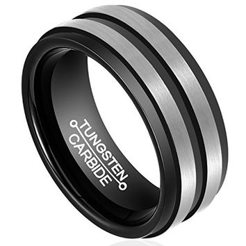 8mm Men's Wedding Band Tungsten Carbide Two Tone Matte Finish Ring