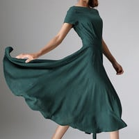 Maxi dress women's green linen dress for wedding  (971)