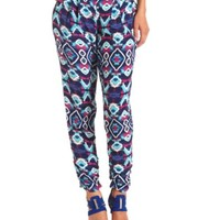 Pleated Tribal Print Jogger Pants