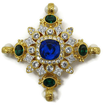 Kenneth Jay Lane Jewelry Rhinestone Cross Necklace Pendant Brooch - Maltese, KJL Designer Costume Jewelry