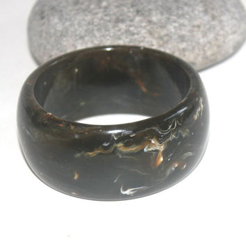 Heavy Vintage Lucite Bangle, Swirled Lucite Chunky Bracelet, Brown, Antique Alchemy