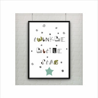 Twinkle Little Star Saying Print / US Letter-A4 up to A0 size / Statement / Art Illustration / Typography Poster / Kids Room Nursery Decor