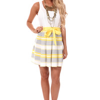 Yellow and White Bow Waist Tank Dress