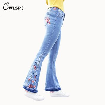 CWLSP Plus size Jeans Woman Loose Flare Pants Embroidery Flower jeans for women 2018 Casual Vintage Denim Pants femme QL3539