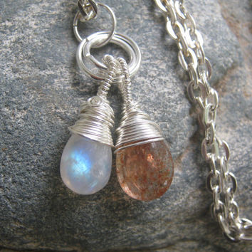 Sun and Moon Sunstone and Moonstone Wire Wrapped Necklace, 24 inches, Choose Your Length