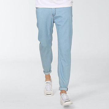 Men Washed Jeans Male Summer Thin Fluid Light Color Skinny Pants Slim Pencil Casual Jeans Linen Trousers