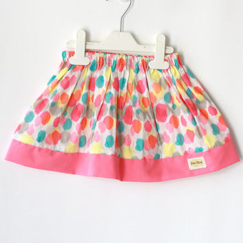 Girl's skirt, Neon color skirt, baby skirt, neon pink skirt, gathered skirt, cotton skirt