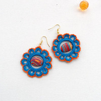 Crochet Earrings - Beaded Earrings - Circle Earrings - Orange Blue Flowers Earrings - Crochet Jewellery