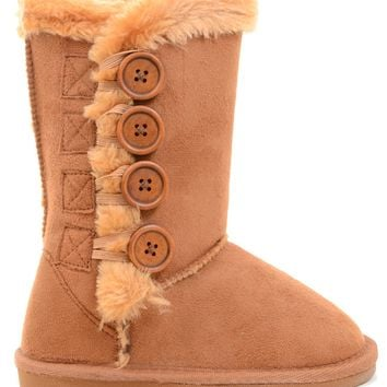 Fur-Lined Vegan Suede Snow Warm Winter Knee High Girl's Kids Boots