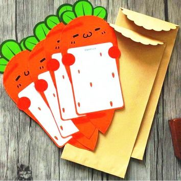 16packs/lot Kawaii Carrot design 4pcs Letter paper+ 2pcs Envelope set Funny students' gift prize office school supply Wholesale