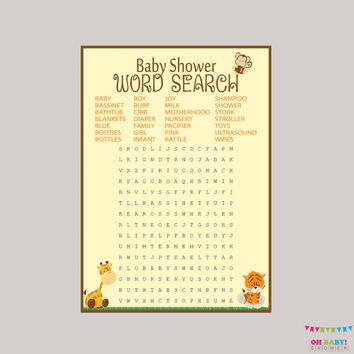 Safari Baby Shower Word Search Printable - Safari Baby Shower Game - Digital Instant Download - Safari Word Search Game - BS0001-N