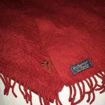 Sale!! Vintage Burberrys of London Maroon Cashmere Scarf Rare Burberry Made in England