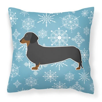 Winter Snowflake Dachshund Fabric Decorative Pillow BB3482PW1818