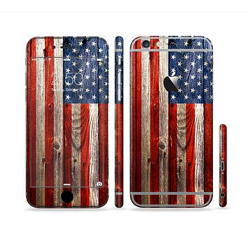 The Wooden Grungy American Flag Sectioned Skin Series for the Apple iPhone 6 Plus