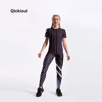 Qickitout New Women Suits Casual Fitness Sportwear Suit Short Sleeve T-Shirt Top Long Pants Polka Dot Leggings For Summer Spring
