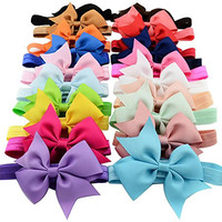 Qandsweet 20pcs Baby Girls Headbands and Forked Tail Bow Photography