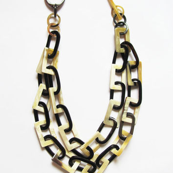 Layer necklace, chunky chain link necklace, unique designer handcrafted jewelry, chainmail, chainmaille, organic horn