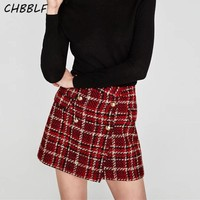 women vintage tweed mini skirt faldas mujer buttons design lady fashion casual wear A line skirts BGB8007