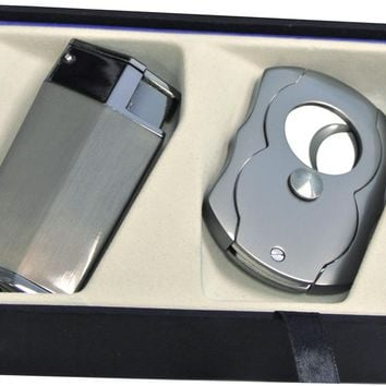 Visol Gunmetal Lapio Lighter Gift Set with Free Cigar Cutter
