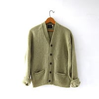 Vintage light green cardigan sweater. Hipster boyfriend sweater. Wool button up pocket sweater. Grandpa cardigan sweater.