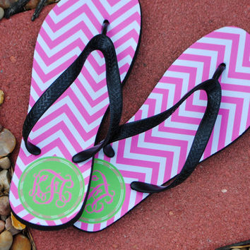 Flip Flops - Bubblegum Chevron Lime Monogram