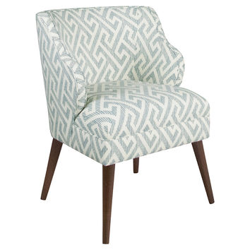 Kira Accent Chair, Teal Greek Key, Accent & Occasional Chairs