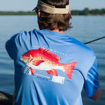 FieldTec Snapper Pocket Tee - Short Sleeve in Breaker Blue by Southern Marsh