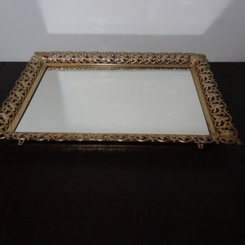 Vintage Hollywood Regency Rectangular Mirrored Vanity/Dresser Tray w/Antiqued Cream Gold Tone Floral Design Metal Filigree
