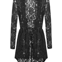 Meaneor Long Sleeve Sheer Lace Cardigan
