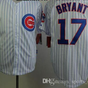 Newest Cubs #17 Kris Bryant Baseball Jerseys White Pinstraped Baseball Shirts Cheap Mens Uniforms Hot Sale Sports Team Jersey for Cheap
