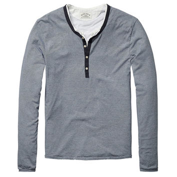 Striped Henley Deep Neck Shirt