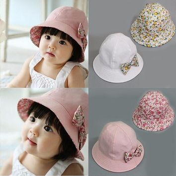 Puseky 2017 Summer Flower Print Cotton Baby Hat Kids Girls Floral Bowknot Cap Sun Bucket Hats Double Sided Can Wear gorro