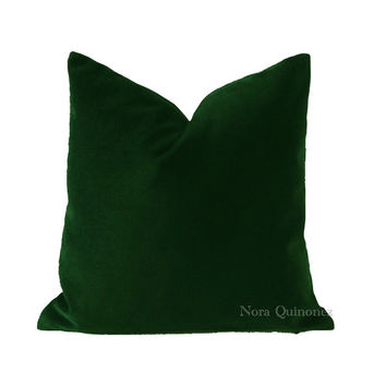 Hunter Green Cotton Velvet Pillow Cover - Decorative Accent Throw Pillows -Invisible Zipper Closure -Knife Or Piping Edge -16x16 to 26x26