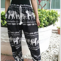 Unisex Black Elephant Print Yoga Pant Baggy Boho Style Gypsy Tribal Hipster Plus Size Aladdin Clothing Beach Zen Harem Men Women Thai