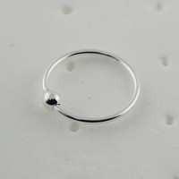 Classic Sterling Silver 20G Hoop Nose Ring with Bead