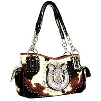 Studded Western Cowgirl Cow Print Cross Horseshoe Satchel Purse (Black)